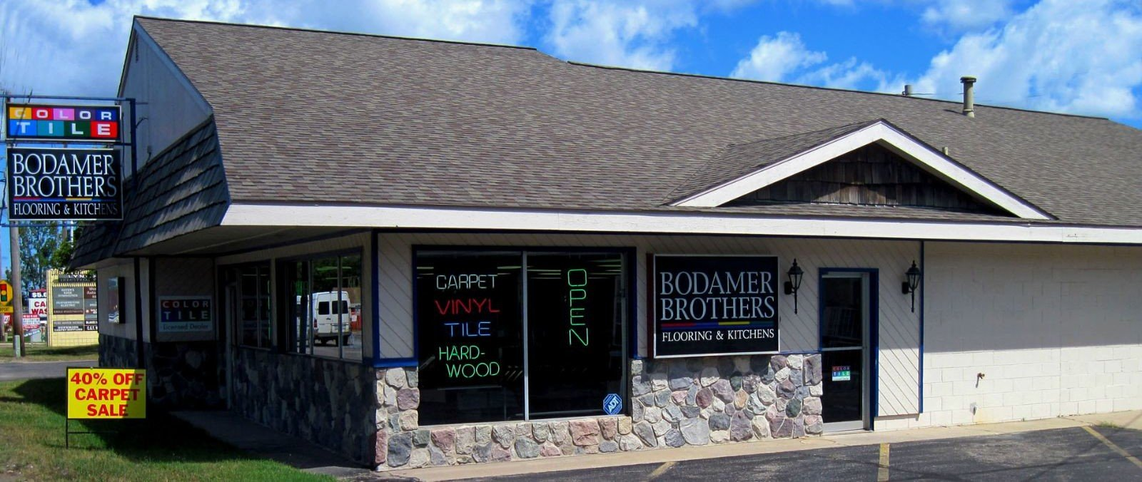 Bodamer Brothers Flooring Store Front at 3000 N. Garfield Rd. Traverse City, MI 49686